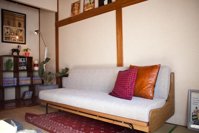 ソファ、和モダン、関東都内の古民家と自然光スタジオ