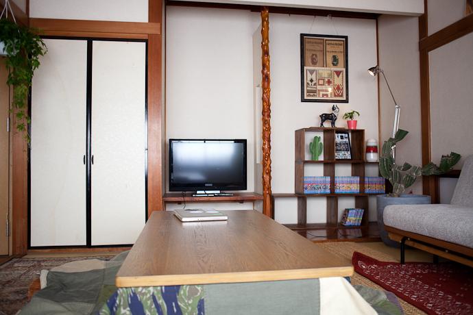 リビング、和モダン、関東都内の古民家と自然光スタジオ