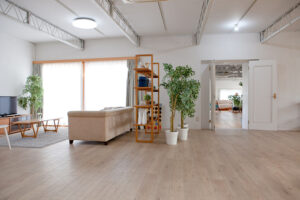 広いキッチンとリビング、関東都内の自然光スタジオ、世田谷区、二子玉川